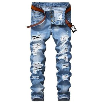 Mens Ripped Jeans Slim Fit Distressed Destroyed Denim  Pants