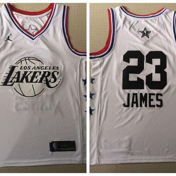 2019 All Star Los Angeles Lakers #23 LeBron James Jersey White