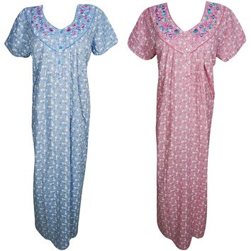Womens Hester Nightgown Printed Cotton Beach Wear Caftan Nightdress L Lot of 2: Amazon.ca: Clothing & Accessories