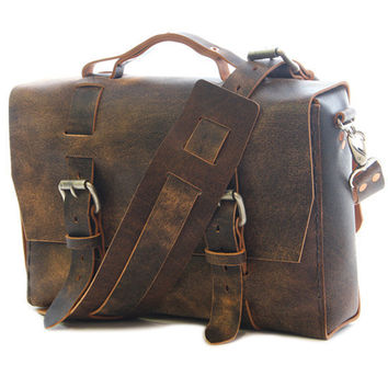 No. 4313 - Brown Distressed Minimalist Leather Satchel - ONE LEFT!