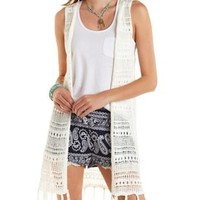 Ivory Open Knit Fringe Duster Vest by Charlotte Russe
