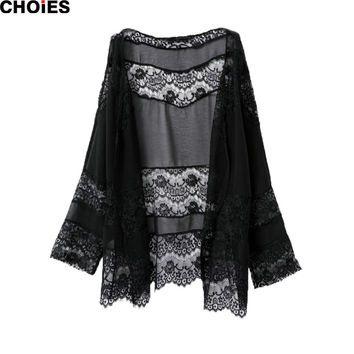 Women Black Lace Crochet Sexy Semi Sheer Mesh Long Sleeve Kimono Patchwork Hollow Out Cardigan Summer Fashion New Cover Up