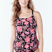 Women's Beach Living Blouson Tankini Swimsuit Top - Larimar Floral from Lands' End