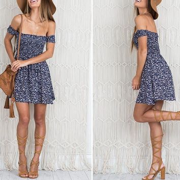 Sexy Off Shoulder Short Sleeve Floral Print Casual Dress