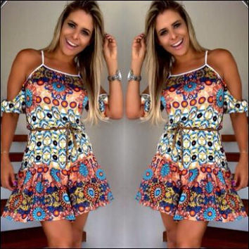 Women's Fashion Sexy Strapless Floral Print One Piece Dress [4919438852]