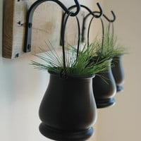 Black Pot Trio with Wrought Iron hooks on recycled wood board for unique wall decor, home decor, bedroom decor