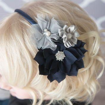 Navy & Grey Hard Headband