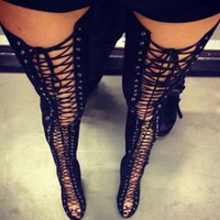 2017 Hot women lace up thigh high boots cut-outs gladiator sandal boots over knee booty sexy club boots women plus size 12 13