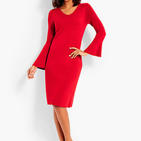 Flounce-Sleeve Sweater Dress | Talbots