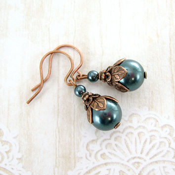 Dusky Teal Swarovski Pearl Earrings - Woodland Nature Jewelry - Dark Green Pearl Drop Earrings Neo Victorian Jewelry Antique Copper Earrings