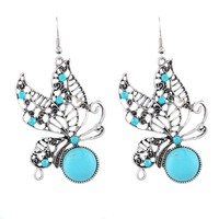 Encounter Antique Silver Filigree Butterfly Turquoise Bead & CZ Cluster Dangle Statement Drop Earrings