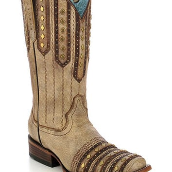 Corral Women's Studded Patch Cowgirl Boots - Square Toe