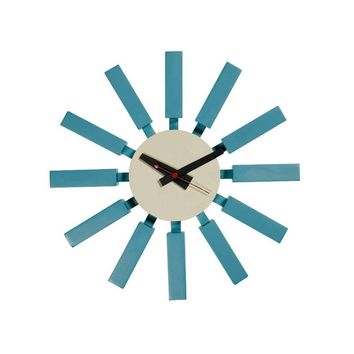 Modern Starburst Turquoise Reproduction George Nelson Block Clock