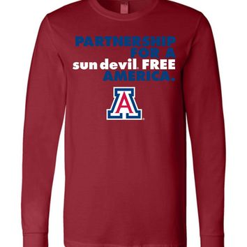 Official NCAA Venley University of Arizona Wildcats U of A Wilber Wildcat BEAR DOWN! Partnership For A Sun Devil Free America Long Sleeve T-Shirt - uofa2499