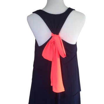 Lovely Layers Bow Back Top (Navy/Neon Coral)