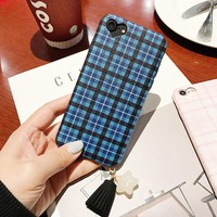 Fashion For iPhone 7 Case Matte Square Stripe Simple Soft TPU Plastic Back Case for iPhone 7 6 6S Plus Phone Cases Tassel Cover -0405