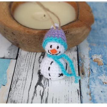 Handmade Christmas Decoration - Tree Ornament - Crochet Snowman with Purple Hat and Blue Scarf - Christmas Decor -Traditional Christmas Gift