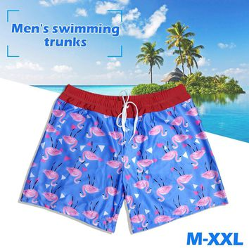 Summer Siwmwear Board Shorts Briefs Beach Flamingo Pattern Printing Swimming Pants Shorts Swimming Trunks Swimming Suit for Men