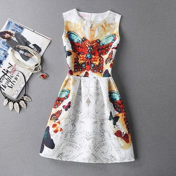 Brand Spring Summer Plus Size Women Print Floral Vest Dress Sleeveless Office Outwear A Line Party Fashion Dresses Vestidos