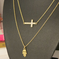 Gold Dainty Layering Charm Chain necklace - sideways Cross, Hand, Hamsa - good luck protection Adjustable Summer everyday jewelry, trendy