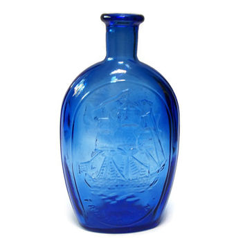 Vintage Blue Medicine Glass Bottle - Kensington Glass Works Reproduction by Wheaton Glass - Franklin Ship TWD American Eagle and Shield