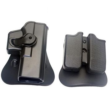 Clusgo Glock 17 19 Right Hand Belt Loop Paddle Holster with mag pouch