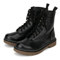 Soda Grunge-S Leatherette Round Toe Lace Rugged Stud Military High Ankle Bootie - Black (Size: 5.5)