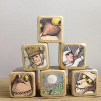 Where The Wild Things Are // Childrens Book Blocks // Natural Wood Toy
