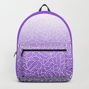Ombre purple and white swirls doodles Backpack by Savousepate