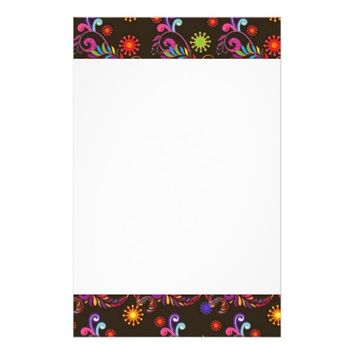 Pretty Psychedelic Flourish On A Brown Background Stationery Paper