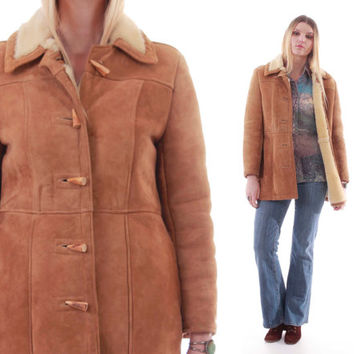 70s Shearling Jacket Tan Sheepskin Boho Western Coat Butter Soft Classic 1970s Vintage Clothing Womens Size Small