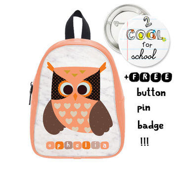 Marble Backpack for Kids + FREE pin badge - Personalized Owl Schoolbag - cute accessory for girls - customized for kids with animal design