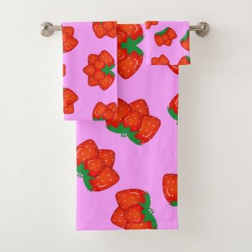 Strawberry pattern bath towel set