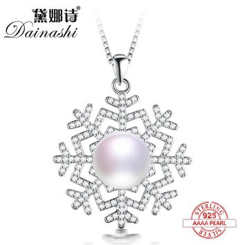 Dainashi 925 silver snowflake shape real natural pearl pendant and necklaces top brand fine jewelry for christmas day gifts