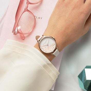 Olivia Burton Begin To Blush Lace Leather Watch at asos.com