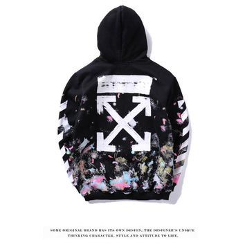 Off-white hip-hop starry sky firework arrow hooded hoodie for couples in a splash of ink coat