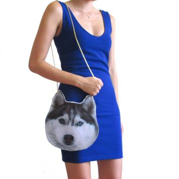 Siberian Husky Dog Face Shaped Animal Themed Vinyl Cross Shoulder Bag
