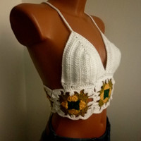White CROCHET Crop Top Boho Hippie Fringed RASTA Crochet Top Crochet Halter Top Halter Hippie Fringes Yoga Nude