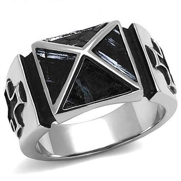 WildKlass Stainless Steel Ring High Polished (no Plating) Men Leather Jet