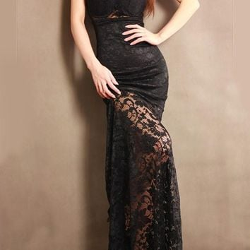 Black Patchwork Lace Ruffle V-neck Fashion Maxi Dress