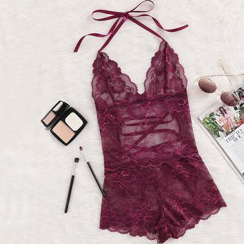 Burgundy Deep V Neck Sleeveless Romper