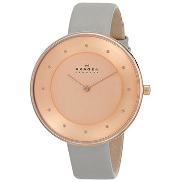 Skagen SKW2139 Women's Denmark Gitte Klassik Rose Gold Dial Grey Leather Strap Watch