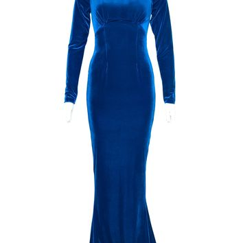 Laura Byrnes California Plus Size Beatrix Gown in Royal Blue Velvet