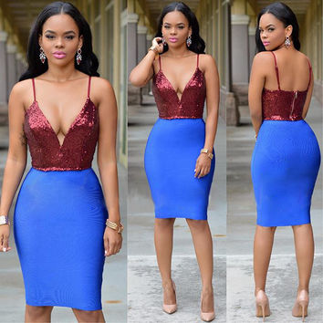 Sequined Plunging Spliced Red Bodycon Dress