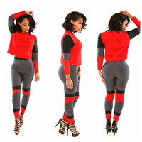 Long Sleeve Cropped Top And Pants Set