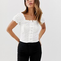 New Look broderie lattice front top in white | ASOS