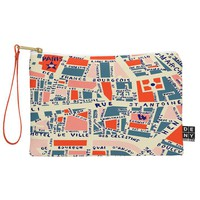 Holli Zollinger Paris Map Blue Pouch