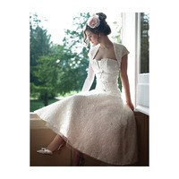 Vintage Lace Strapless Knee Length Wedding Dress