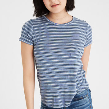 AE Soft & Sexy Crew Pocket Striped T-Shirt, Blue