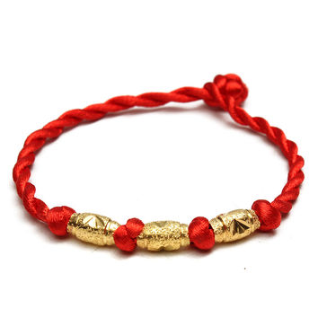Olive Beads Red String Braided Bracelet